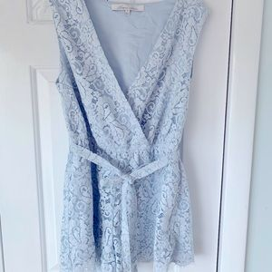 Light Blue Lace Romper - Lovers + Friends - Small
